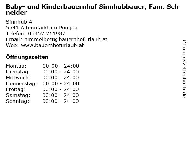 Baby- und Kinderbauernhof Sinnhubbauer, Fam. Schneider in Altenmarkt im Pongau: Adresse und Öffnungszeiten