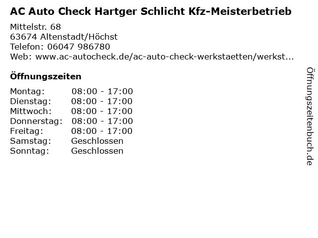 AC Auto Check Hartger Schlicht Kfz-Meisterbetrieb in Altenstadt/Höchst: Adresse und Öffnungszeiten