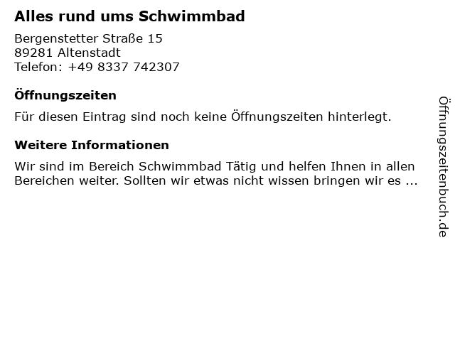 Alles rund ums Schwimmbad in Altenstadt: Adresse und Öffnungszeiten