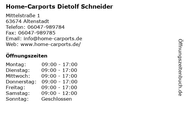 Home-Carports Dietolf Schneider in Altenstadt: Adresse und Öffnungszeiten