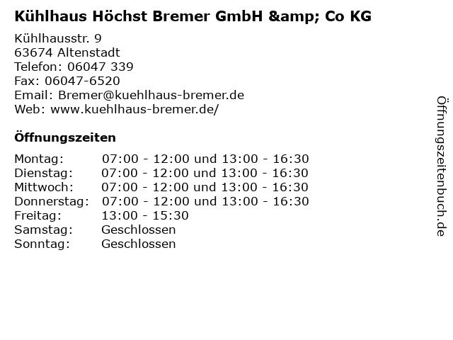 Kühlhaus Höchst Bremer GmbH & Co KG in Altenstadt: Adresse und Öffnungszeiten
