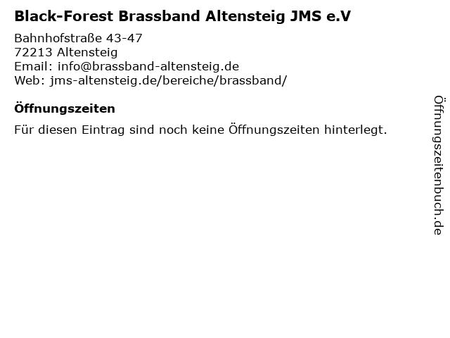Black-Forest Brassband Altensteig JMS e.V in Altensteig: Adresse und Öffnungszeiten