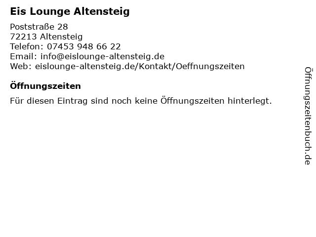 Eis Lounge Altensteig in Altensteig: Adresse und Öffnungszeiten