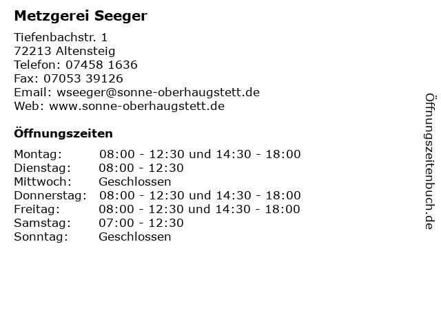 Metzgerei Seeger in Altensteig: Adresse und Öffnungszeiten