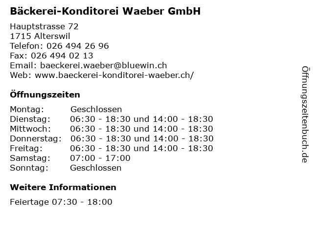 Bäckerei-Konditorei Waeber GmbH in Alterswil: Adresse und Öffnungszeiten