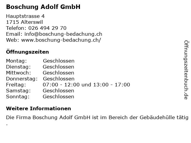 Boschung Adolf GmbH in Alterswil: Adresse und Öffnungszeiten