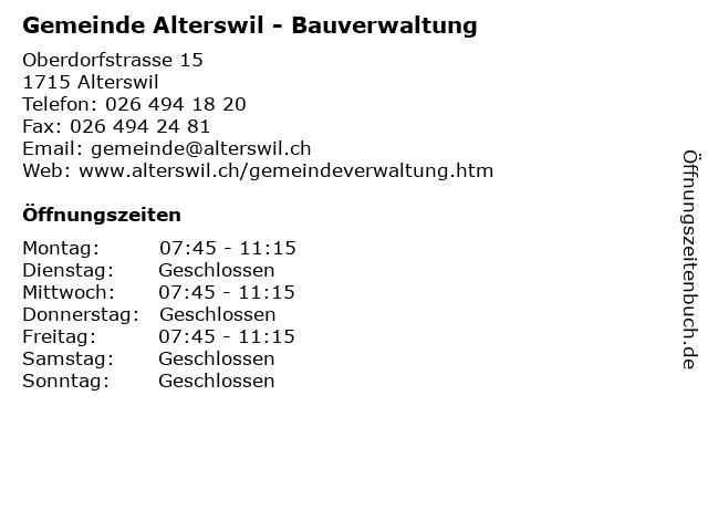 Gemeinde Alterswil - Bauverwaltung in Alterswil: Adresse und Öffnungszeiten