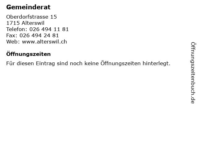 Gemeinderat in Alterswil: Adresse und Öffnungszeiten