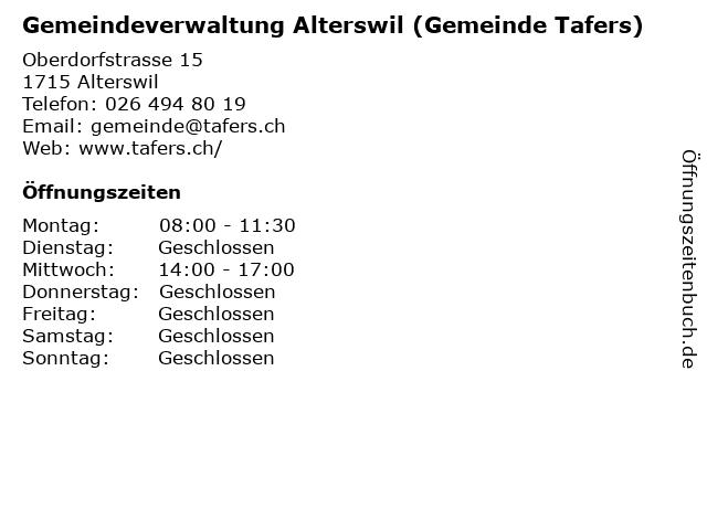 Gemeinde Alterswil - Gemeindekanzlei in Alterswil: Adresse und Öffnungszeiten