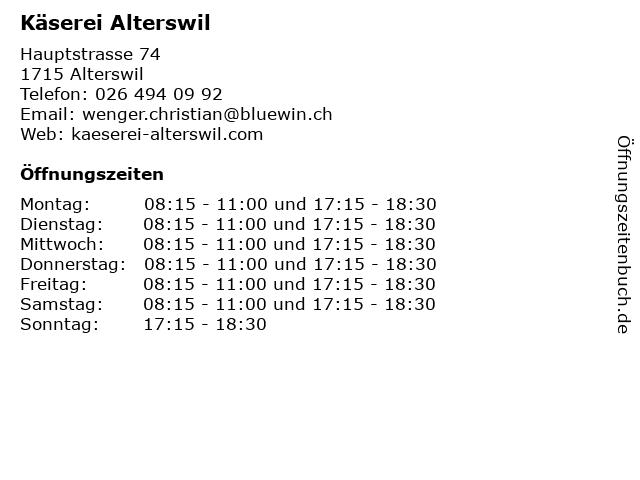 Käserei Alterswil in Alterswil: Adresse und Öffnungszeiten