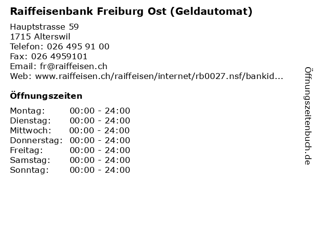 Raiffeisenbank Freiburg Ost (Geldautomat) in Alterswil: Adresse und Öffnungszeiten