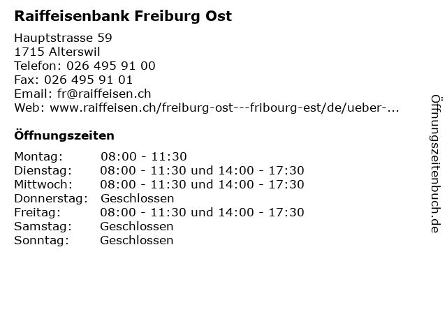 Raiffeisenbank Freiburg Ost in Alterswil: Adresse und Öffnungszeiten