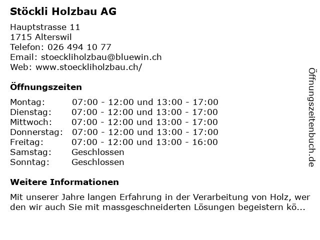Stöckli Holzbau AG in Alterswil: Adresse und Öffnungszeiten