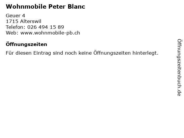 Wohnmobile Peter Blanc in Alterswil: Adresse und Öffnungszeiten
