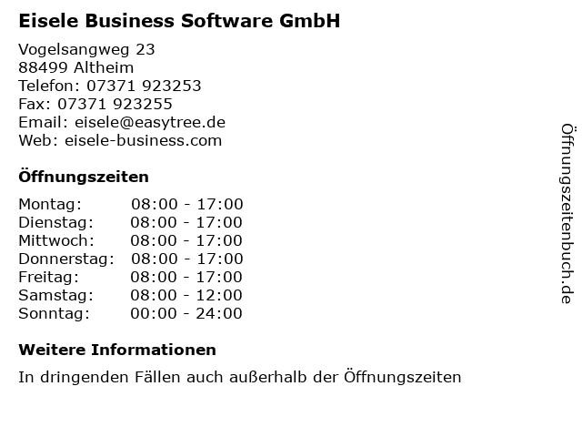 Eisele Business Software GmbH in Altheim: Adresse und Öffnungszeiten