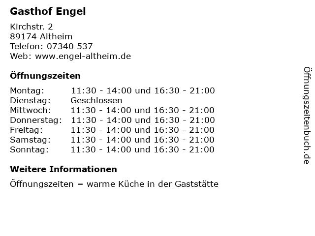 Gasthof Engel in Altheim: Adresse und Öffnungszeiten