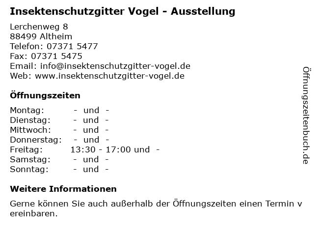 Insektenschutzgitter Vogel - Ausstellung in Altheim: Adresse und Öffnungszeiten