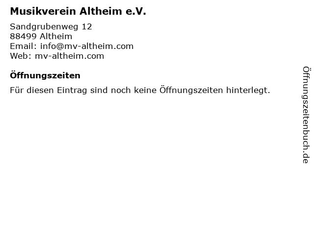 Musikverein Altheim e.V. in Altheim: Adresse und Öffnungszeiten