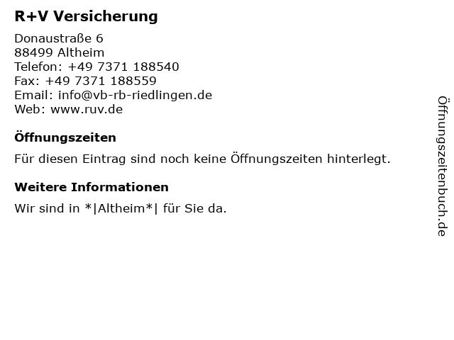 R+V Versicherung in Altheim: Adresse und Öffnungszeiten