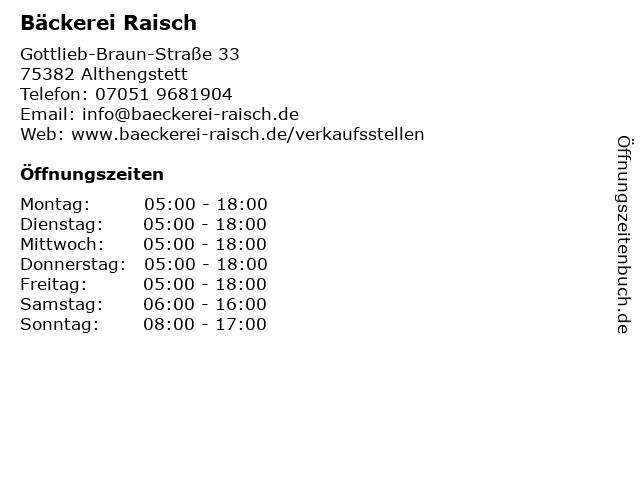 Bäckerei Raisch in Althengstett: Adresse und Öffnungszeiten