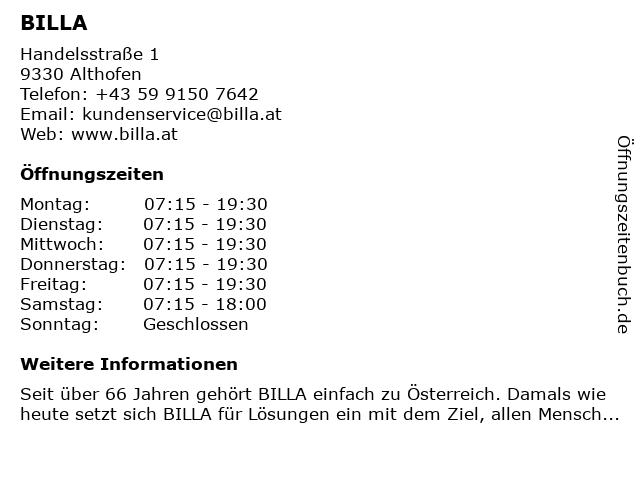 Billa in Althofen: Adresse und Öffnungszeiten