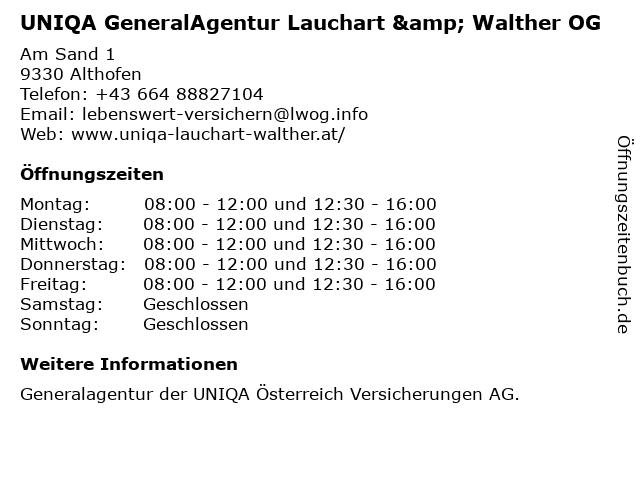 UNIQA GeneralAgentur Lauchart & Walther OG in Althofen: Adresse und Öffnungszeiten