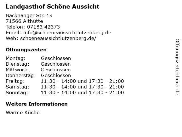 Landgasthof Schöne Aussicht in Althütte: Adresse und Öffnungszeiten