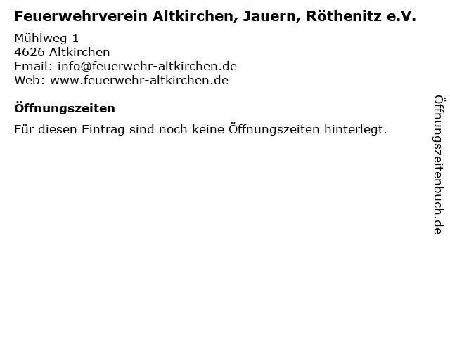 Feuerwehrverein Altkirchen, Jauern, Röthenitz e.V. in Altkirchen: Adresse und Öffnungszeiten