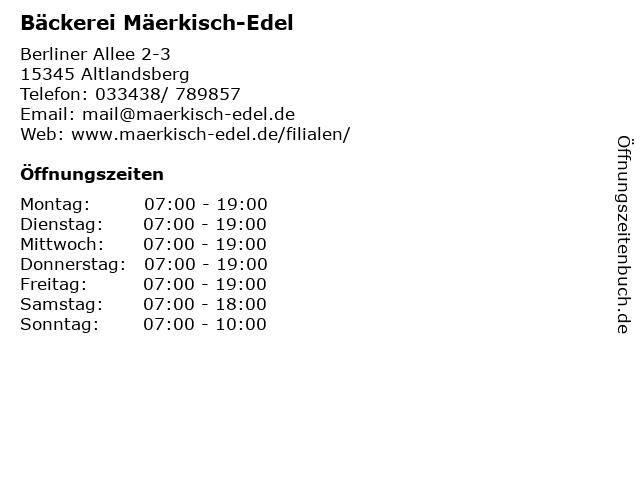 Bäckerei Mäerkisch-Edel in Altlandsberg: Adresse und Öffnungszeiten