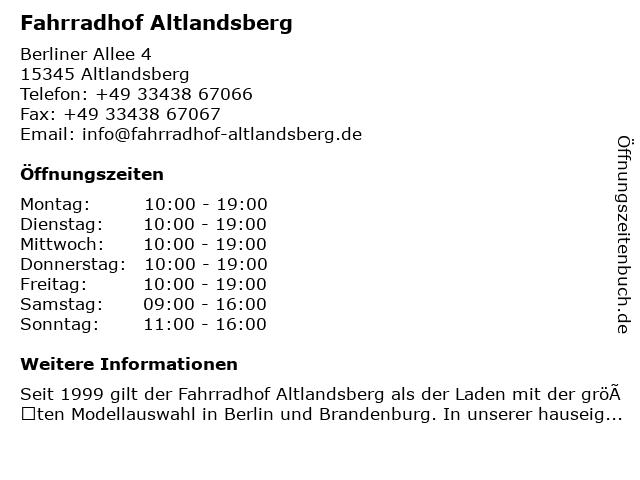 ᐅ öffnungszeiten Fahrradhof Altlandsberg Berliner Allee 4 In