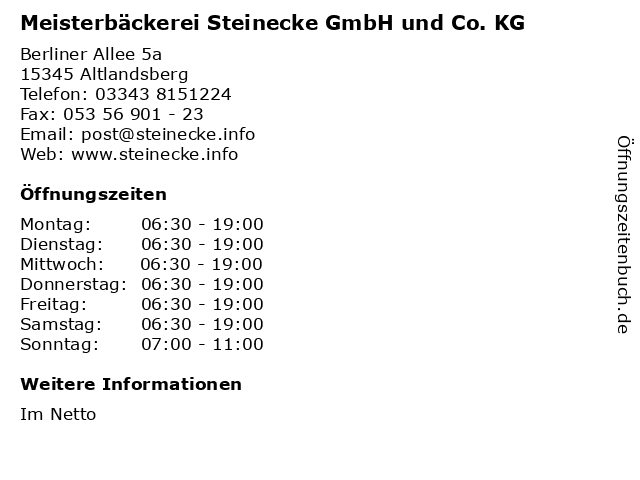 Meisterbäckerei Steinecke GmbH und Co. KG in Altlandsberg: Adresse und Öffnungszeiten