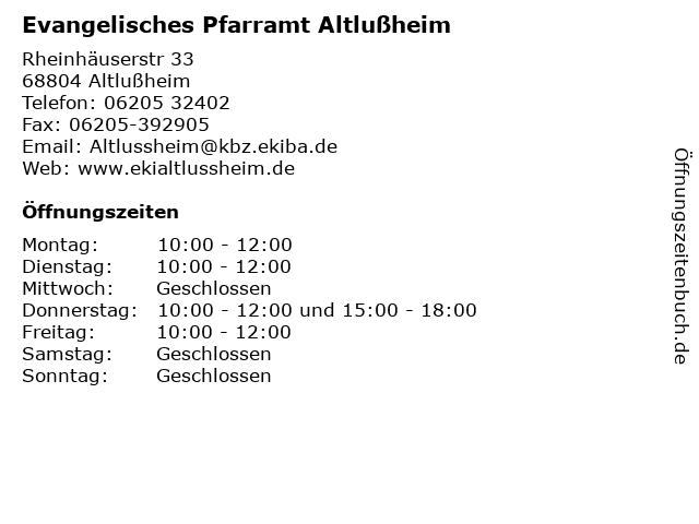 Evangelisches Pfarramt Altlußheim in Altlußheim: Adresse und Öffnungszeiten