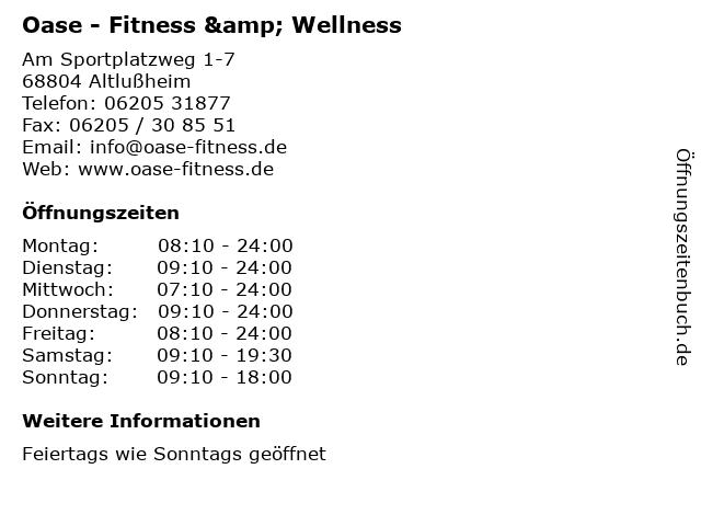Oase - Fitness & Wellness in Altlußheim: Adresse und Öffnungszeiten
