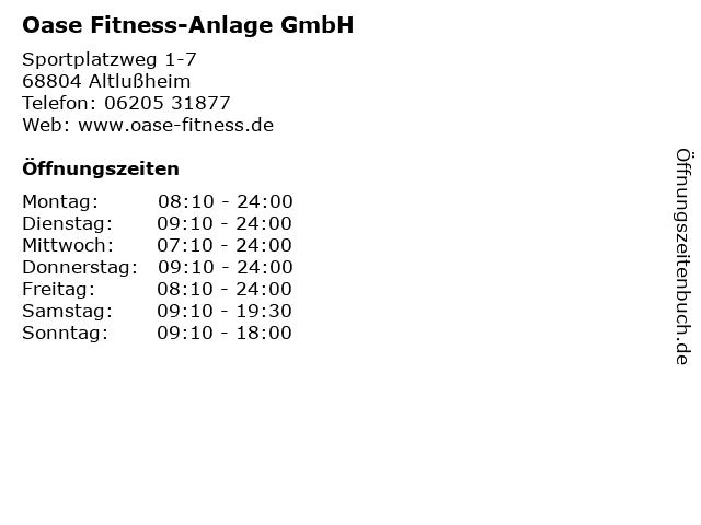 Oase Fitness-Anlage GmbH in Altlußheim: Adresse und Öffnungszeiten