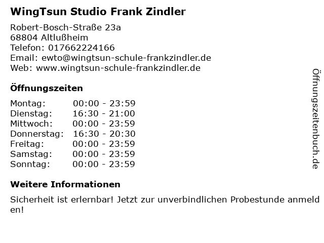 WingTsun Studio Frank Zindler in Altlußheim: Adresse und Öffnungszeiten