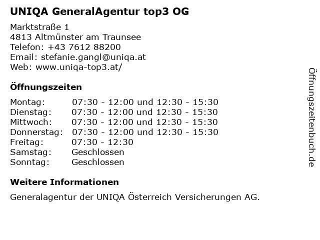 UNIQA GeneralAgentur top3 OG in Altmünster am Traunsee: Adresse und Öffnungszeiten