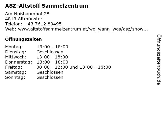 ASZ-Altstoff Sammelzentrum in Altmünster: Adresse und Öffnungszeiten