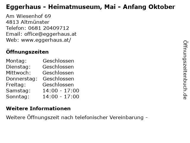 Eggerhaus - Heimatmuseum, Mai - Anfang Oktober in Altmünster: Adresse und Öffnungszeiten