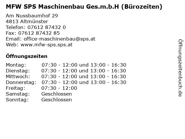 MFW SPS Maschinenbau Ges.m.b.H (Bürozeiten) in Altmünster: Adresse und Öffnungszeiten