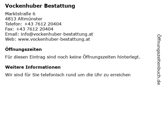 Vockenhuber Bestattung in Altmünster: Adresse und Öffnungszeiten