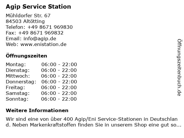 Agip Service Station in Altötting: Adresse und Öffnungszeiten