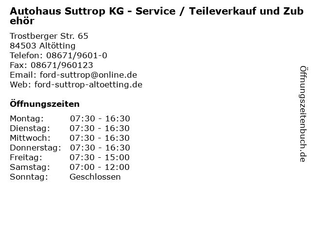 Autohaus Suttrop KG - Service / Teileverkauf und Zubehör in Altötting: Adresse und Öffnungszeiten