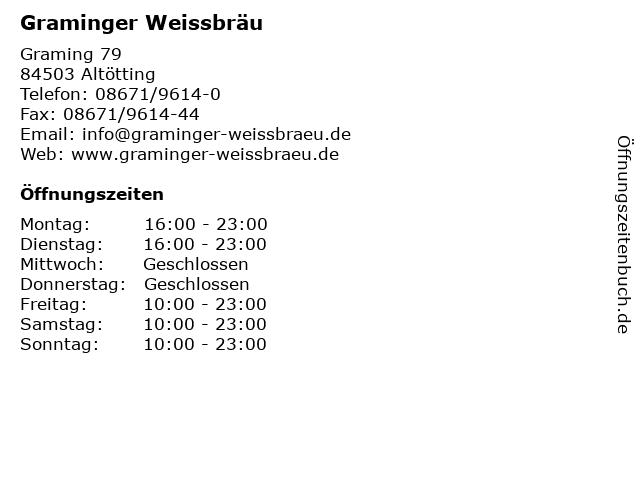 Graminger Weissbräu in Altötting: Adresse und Öffnungszeiten