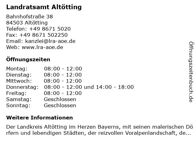 Landratsamt Altötting in Altötting: Adresse und Öffnungszeiten