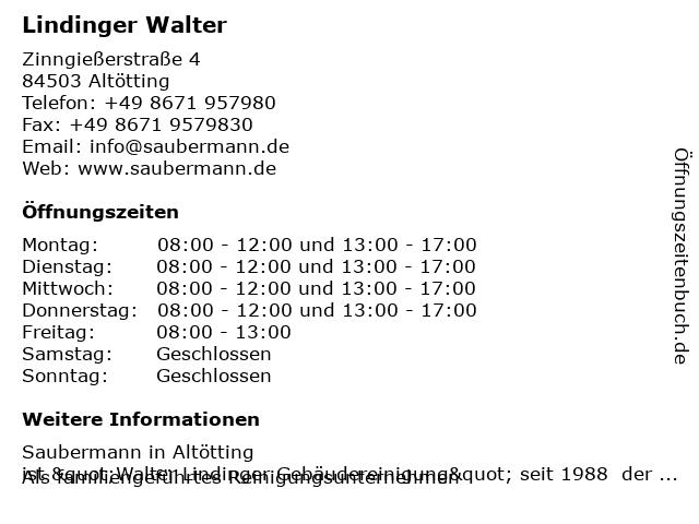 Lindinger Walter in Altötting: Adresse und Öffnungszeiten