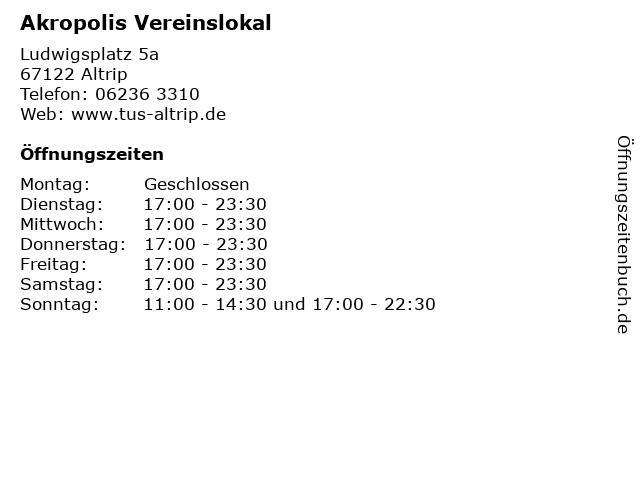 Akropolis Vereinslokal in Altrip: Adresse und Öffnungszeiten