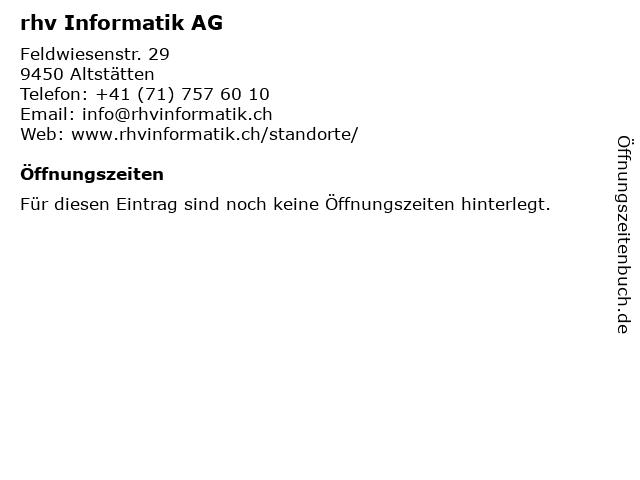 rhv Informatik AG in Altstätten: Adresse und Öffnungszeiten