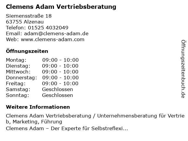 Clemens Adam Vertriebsberatung in Alzenau: Adresse und Öffnungszeiten