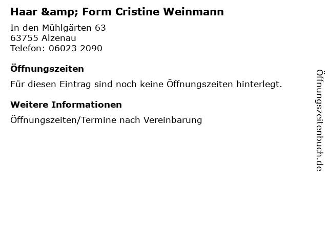 Haar & Form Cristine Weinmann in Alzenau: Adresse und Öffnungszeiten