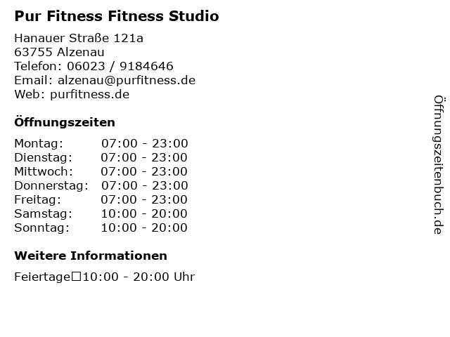 Pur Fitness Fitness Studio in Alzenau: Adresse und Öffnungszeiten